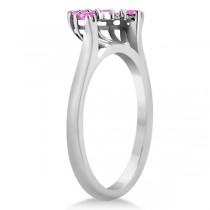 Pink Sapphire Contour Gemstone Wedding Band 18K White Gold (0.40ct)