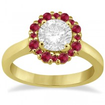 Prong Set Floral Halo Ruby Engagement Ring 14k Yellow Gold (0.68ct)