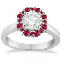 Prong Set Floral Halo Ruby Engagement Ring 18k White Gold (0.68ct)