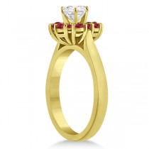 Prong Set Floral Halo Ruby Engagement Ring 18k Yellow Gold (0.68ct)