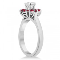 Prong Set Floral Halo Ruby Engagement Ring Palladium (0.68ct)