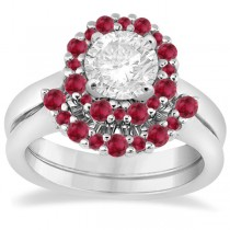 Halo Ruby Engagement Ring & Wedding Band 18k White Gold (1.08ct)