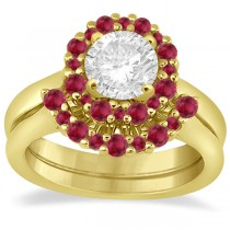Halo Ruby Engagement Ring & Wedding Band 18k Yellow Gold (1.08ct)