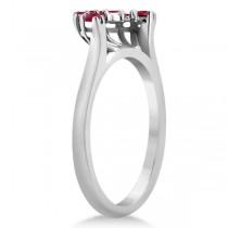 Ruby Contour Gemstone Bridal Wedding Band 18K White Gold (0.40ct)