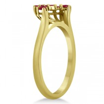 Ruby Contour Gemstone Bridal Wedding Band 18K Yellow Gold (0.40ct)