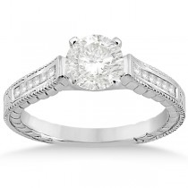 Princess Channel Set Diamond Engagement Ring 14k White Gold (0.17ct)