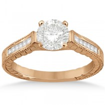 Princess Channel Set Diamond Engagement Ring 18k Rose Gold (0.17ct)