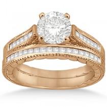 Princess Cut Channel Diamond Bridal Set in 14k Rose Gold (0.38ct)