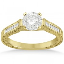 Princess Cut Channel Diamond Bridal Set in 14k Yellow Gold (0.38ct)