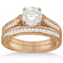Princess Cut Channel Diamond Bridal Set in 18k Rose Gold (0.38ct)