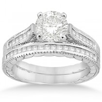 Princess Cut Channel Diamond Bridal Set in Palladium (0.38ct)