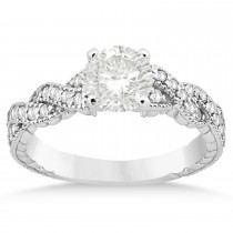 Diamond Braided Engagement Ring Setting 14k White Gold 0.21ct
