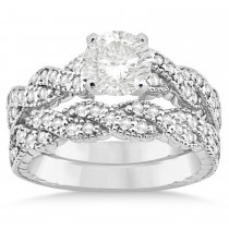 Diamond Braided Bridal Set Setting 18k White Gold 0.44ct