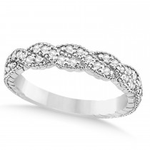 Diamond Braided Wedding Band Setting 14k White Gold 0.23ct