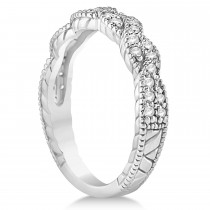 Diamond Braided Wedding Band Setting 18k White Gold 0.23ct