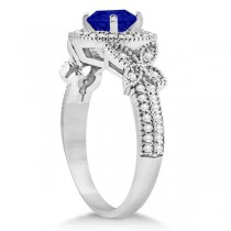 Halo Diamond Butterfly Blue Sapphire Engagement Ring 14k White Gold (1.33ct)