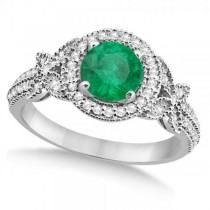 Halo Diamond Butterfly Emerald Engagement Ring 14k White Gold (1.33ct)