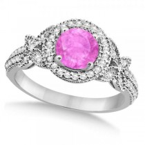 Halo Diamond Butterfly Pink Sapphire Engagement Ring 14k White Gold (1.33ct)