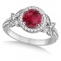 Halo Diamond Butterfly Ruby Engagement Ring 14k White Gold (1.33ct)