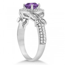 Butterfly Halo Diamond Amethyst Bridal Set in 14k White Gold (1.58ct)
