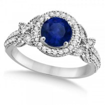 Butterfly Halo Diamond Blue Sapphire Bridal Set in 14k White Gold (1.58ct)