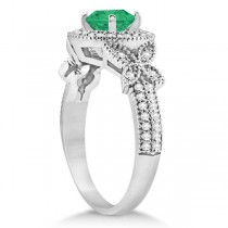 Butterfly Halo Diamond Emerald Bridal Set in 14k White Gold (1.58ct)