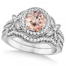 Butterfly Halo Diamond Morganite Bridal Set in 14k White Gold (1.58ct)