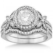 Butterfly Diamond Engagement Ring & Wedding Band Platinum (0.58ct)