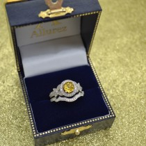 Butterfly Halo Diamond Yellow Sapphire Bridal Set in 14k White Gold (1.58ct)