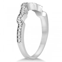 Contour Band Diamond Wedding Band 14k White Gold (0.15ct)