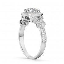 Diamond & Sapphire Butterfly Engagement Ring 14k White Gold (0.35ct)