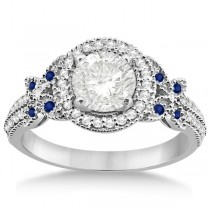 Diamond & Sapphire Butterfly Engagement Ring Palladium (0.35ct)
