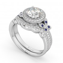 Butterfly Diamond & Sapphire Engagement Set 18k White Gold (0.50ct)