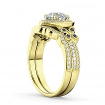 Butterfly Diamond & Sapphire Engagement Set 18k Yellow Gold (0.50ct)