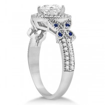 Butterfly Diamond & Sapphire Engagement Set Platinum (0.50ct)
