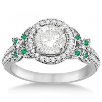 Halo Diamond & Emerald Butterfly Engagement Ring 18k White Gold (0.35ct)