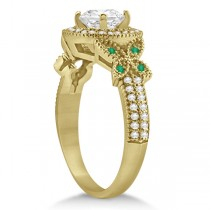 Halo Diamond & Emerald Butterfly Engagement Ring 18k Yellow Gold (0.35ct)