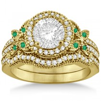 Butterfly Diamond & Emerald Engagement Ring & Band 18k Yellow Gold (0.50ct)