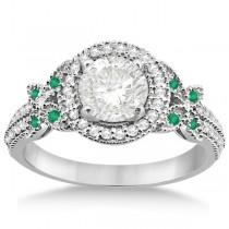 Butterfly Diamond & Emerald Engagement Ring & Band Palladium (0.50ct)