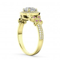Diamond & Pink Sapphire Butterfly Engagement Ring 18k Yellow Gold (0.35ct)