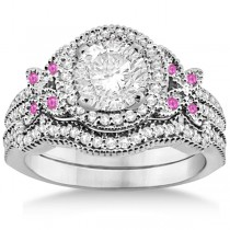 Butterfly Diamond & Pink Sapphire Engagement Set Palladium (0.50ct)