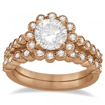 Diamond Halo Flower Engagement Ring & Wedding Band 14k Rose Gold (0.53ct)