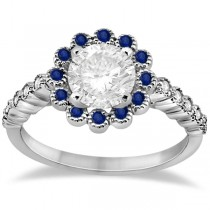 Flower Diamond & Blue Sapphire Engagement Ring 14k White Gold (0.46ct)