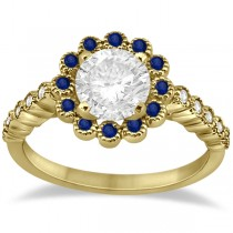 Flower Diamond & Blue Sapphire Engagement Ring 14k Yellow Gold (0.46ct)