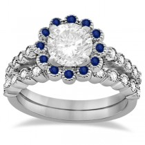 Flower Diamond & Blue Sapphire Bridal Ring Set 14k White Gold (0.66ct)