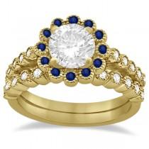 Flower Diamond & Blue Sapphire Bridal Ring Set 14k Yellow Gold (0.66ct)