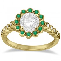 Flower Diamond and Emerald Engagement Ring 14k Yellow Gold (0.45ct)