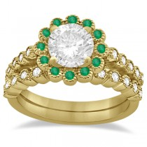 Flower Diamond and Emerald Bridal Ring Set 14k Yellow Gold (0.65ct)
