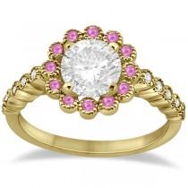 Flower Diamond & Pink Sapphire Engagement Ring 14k Yellow Gold (0.46ct)