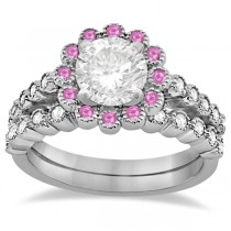 Flower Diamond & Pink Sapphire Bridal Ring Set 14k White Gold (0.66ct)